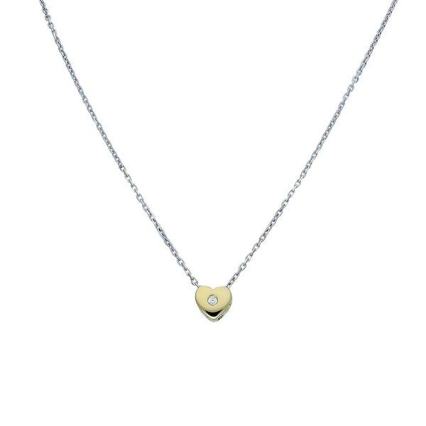 Gouden collier - hart - zirkonia