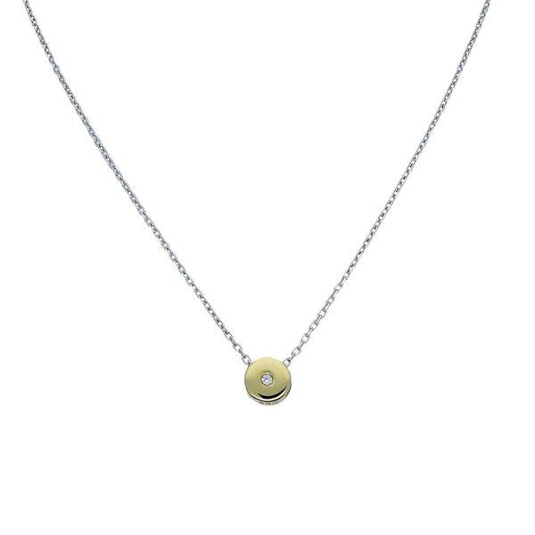 Gouden collier - rond - zirkonia