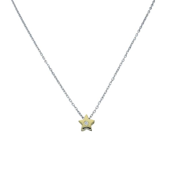 Gouden collier - ster - zirkonia