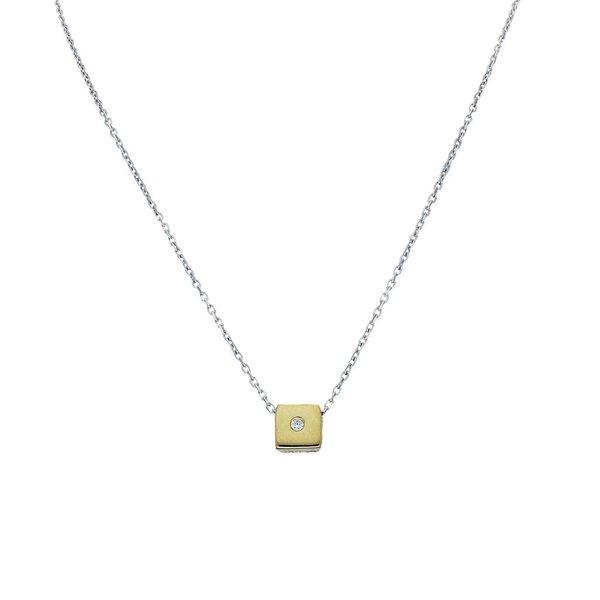 Gouden collier - vierkant -zirkonia