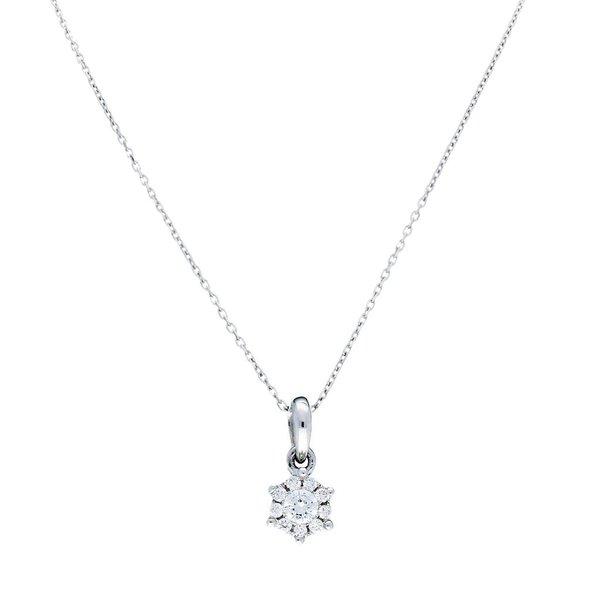 Witgouden collier met hanger -diamant -10 -0.08ct.
