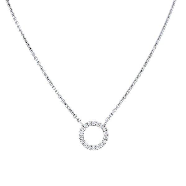 Witgouden collier met hanger - cirkel - diamant