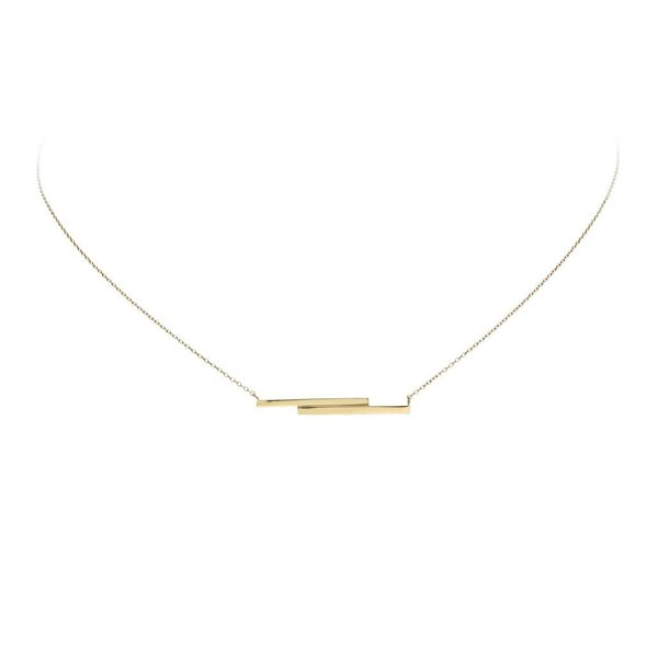 Gouden collier met hanger - 2x balk