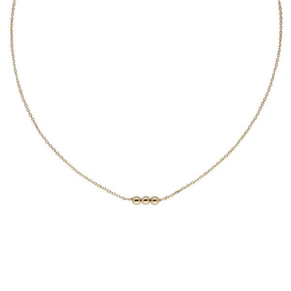 Gouden collier met hanger - 3 balletjes