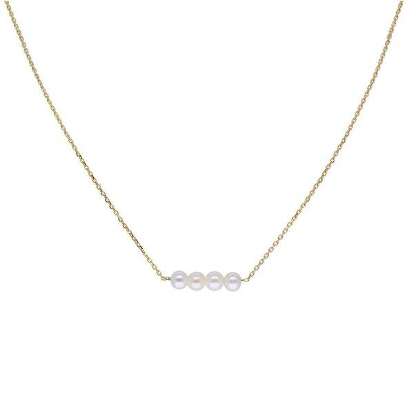 Gouden collier met hanger - 4 parels