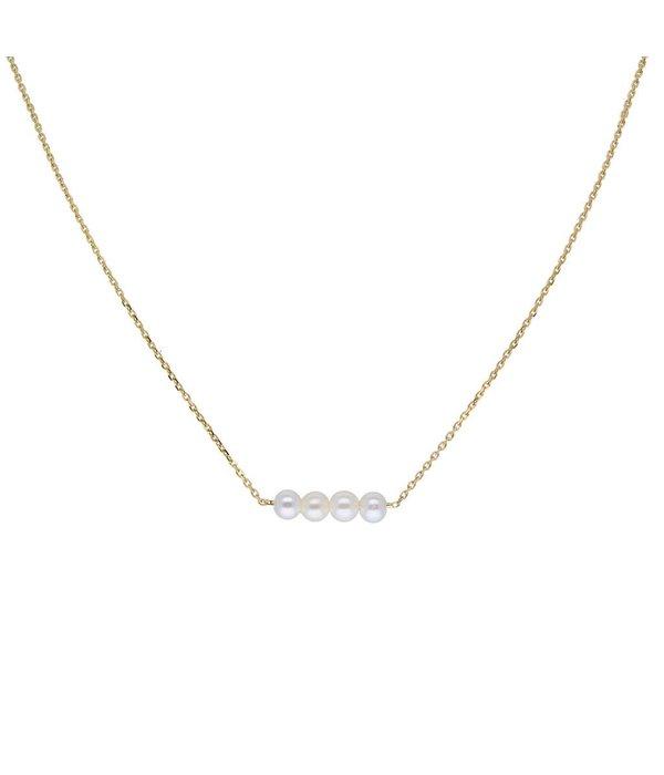 Glow Gouden collier met hanger - 4 parels - 40+2cm