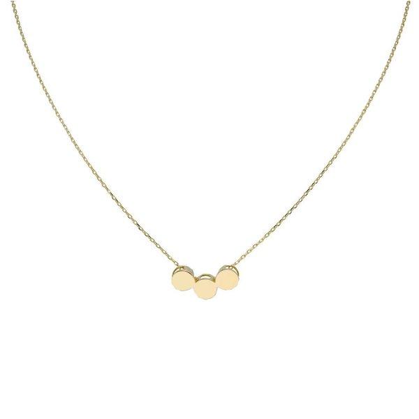 Gouden collier met hanger - 3 rondjes