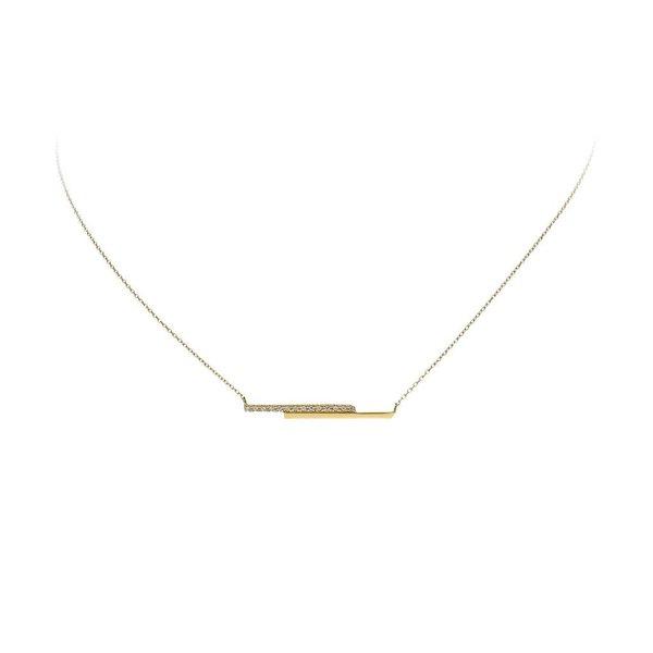 Gouden collier - 2x balk - zirkonia
