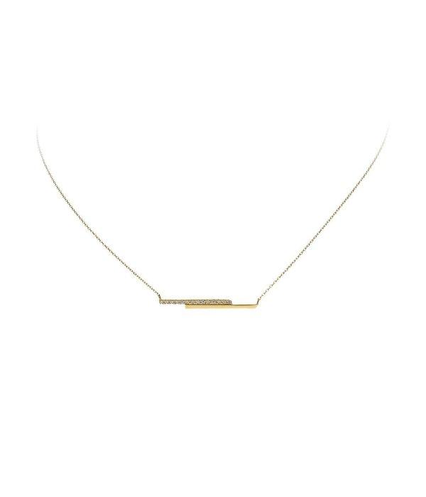Glow Gouden collier - 2x balk - zirkonia -