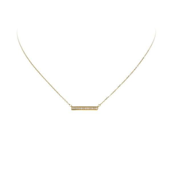 Gouden collier - balk - zirkonia - 42+3 cm