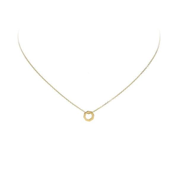 Gouden collier met hanger - zeshoek