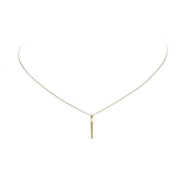 Gouden collier met hanger - balk - vierkante buis