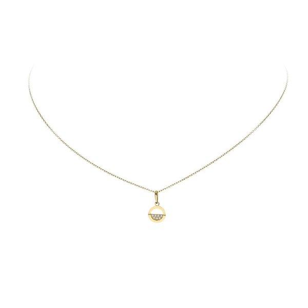 Gouden collier met hanger - cirkel - half zirkonia