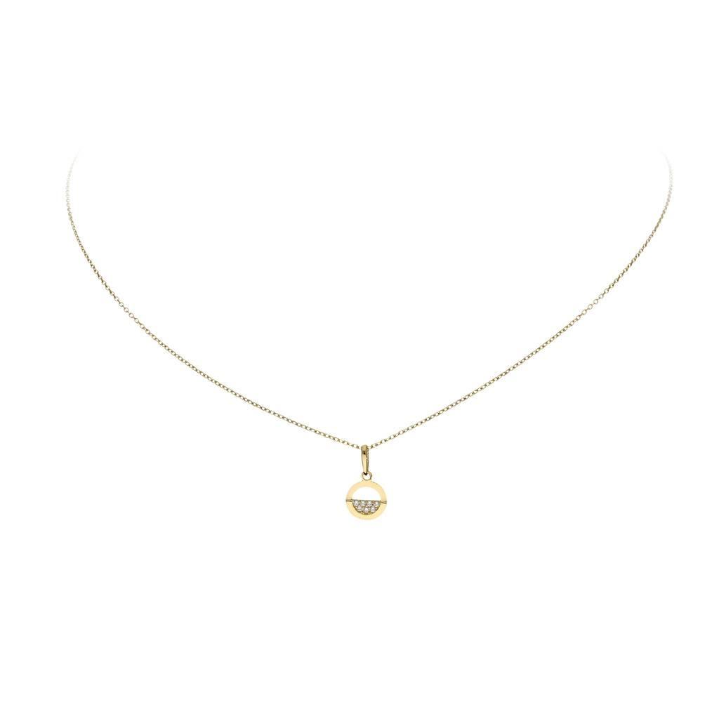 Glow Gouden collier met hanger - cirkel - half zirkonia - 42+2cm