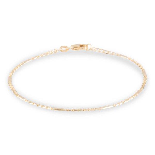 Gouden schakelarmband - 19 cm - fantasie - 1.5 mm