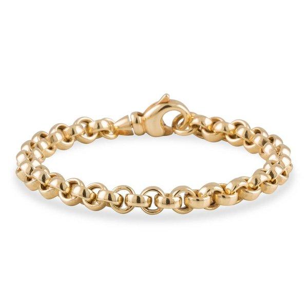 Gouden schakelarmband - 19 cm - jasseron - 6.0 mm