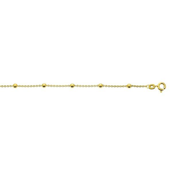 Gouden schakelarmband - 18.5cm - anker - balletjes