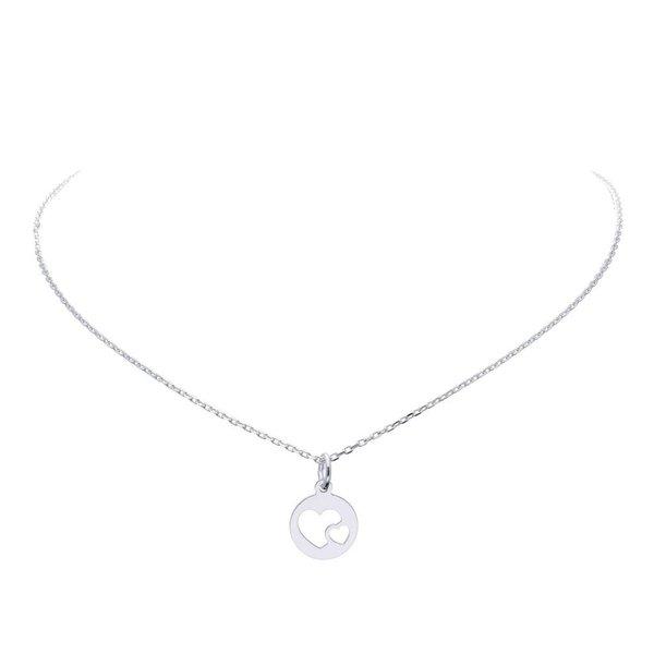 Zilveren symboolhanger incl.collier - 2 harten