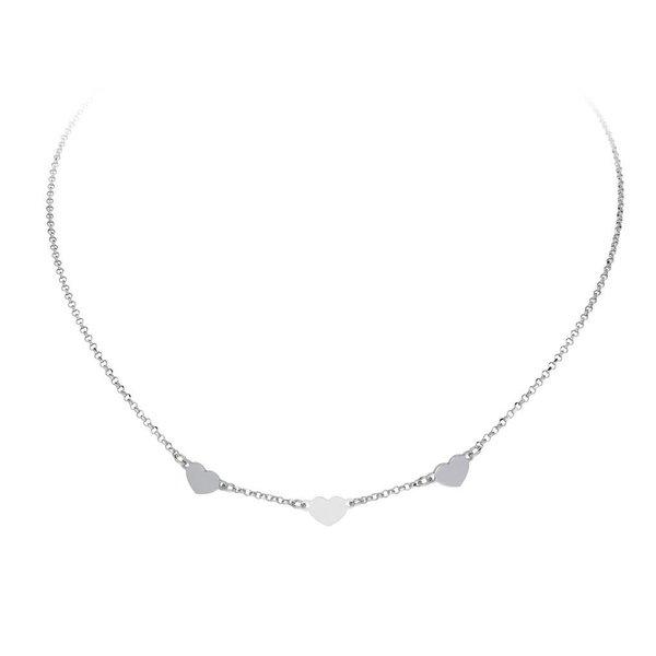 Zilveren anker collier -  3 hartjes