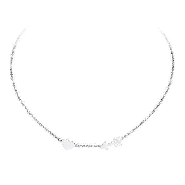 Zilveren anker collier - hart en pijl