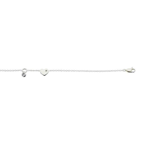 Zilveren schakelarmband - hart - ronde zirkonia