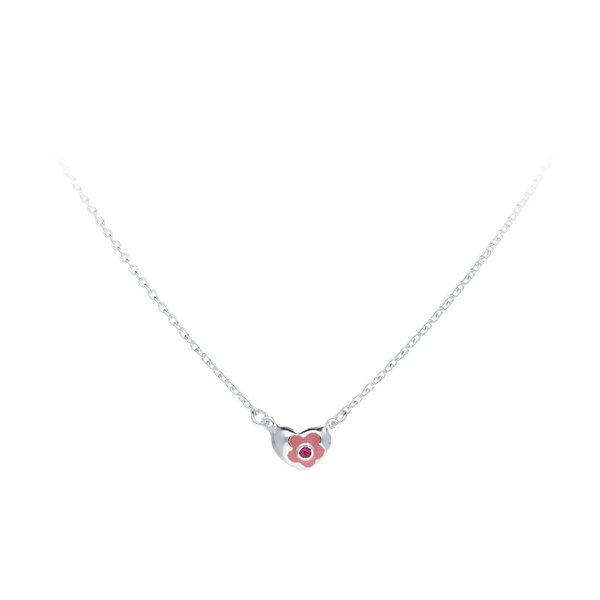Zilveren collier met hanger - roze hart - zirkonia