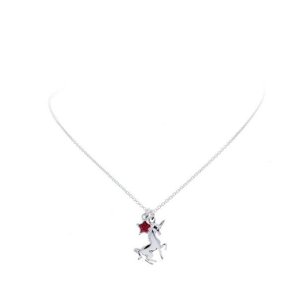 Zilveren bedelcollier - eenhoorn - roze ster