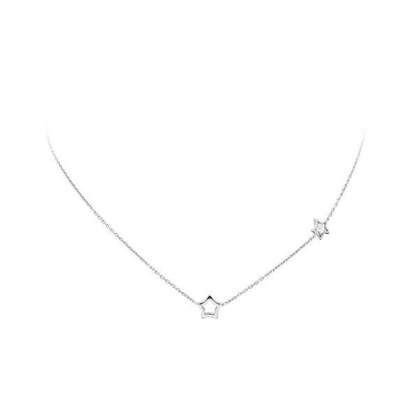 Zilveren bedelcollier -open ster zirkonia- 38+2 cm