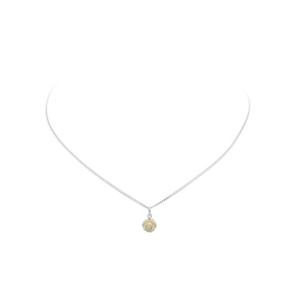 Zilveren collier met hanger - roos crème