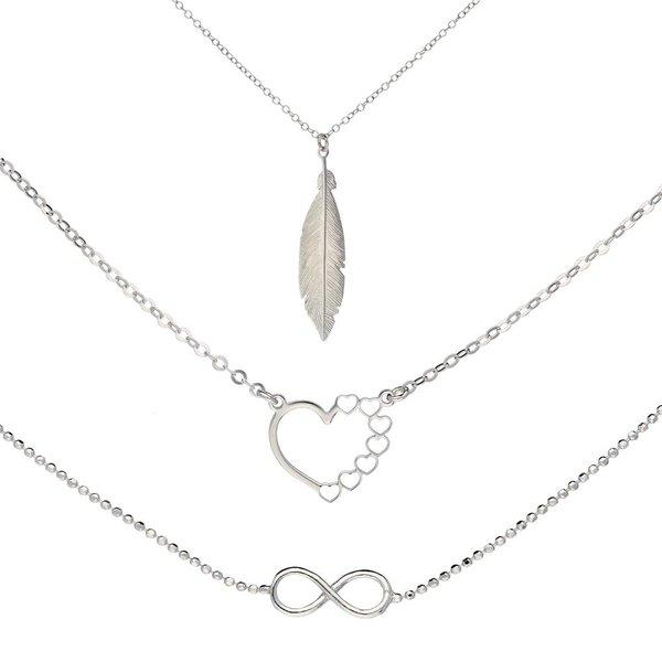 Zilverenset  lovenotes - hart-infinity-veer