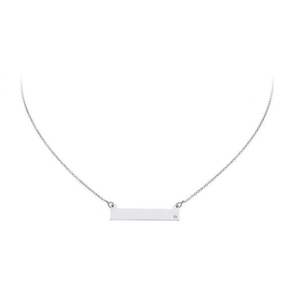 Zilveren collier - plaatje - gerodineerd -zirkonia
