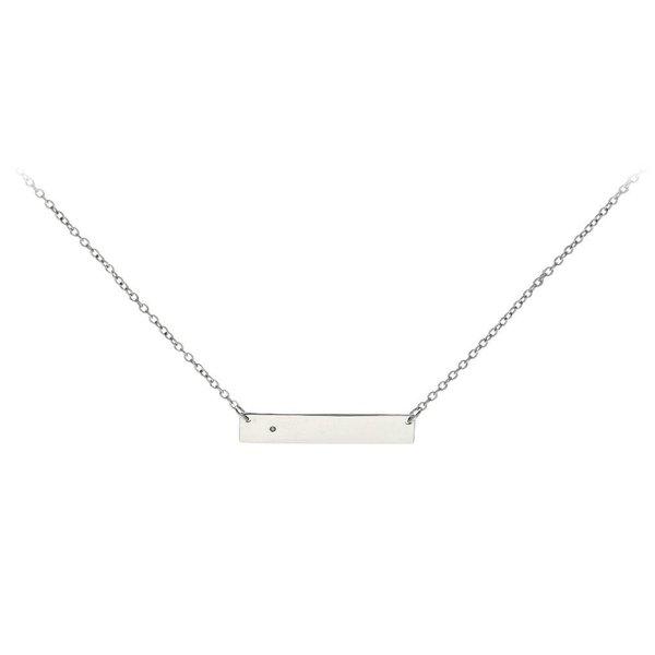 Zilveren collier met hanger - zirkonia 42+3 cm