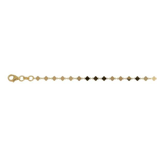 Zilveren gold-plated armband - wiebertjes - 17+3cm