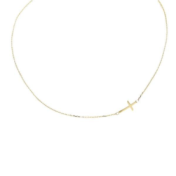 Gouden collier met hanger - kruis