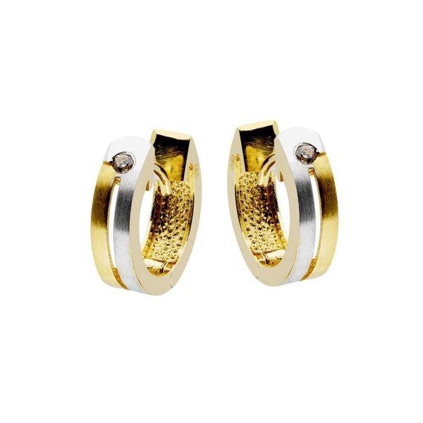Gouden klapcreolen - mat/poli - zirkonia - 12 mm
