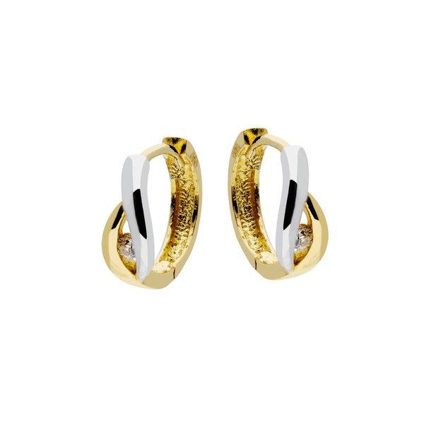 Gouden klapcreolen - glanzend - zirkonia - 12 mm