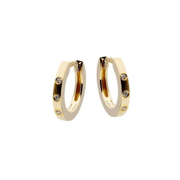 Gouden klapcreolen - mat - diamant - 6- 0.03ct