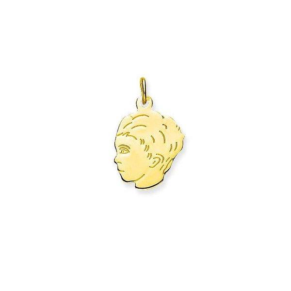 Gouden kinderkopje - jongen - 16 x 14 mm