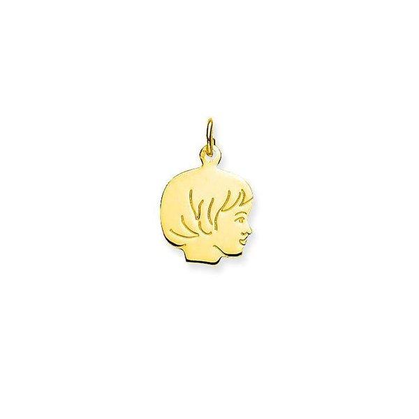 Gouden kinderkopje - meisje - 13.5 x 13.5 mm