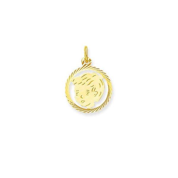 Gouden kinderkopje - jongen - 15.5 x 15.5 mm