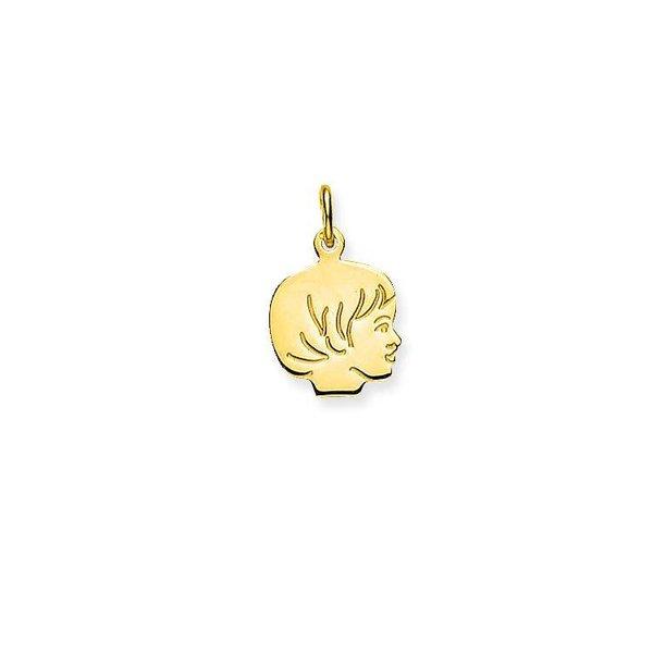 Gouden kinderkopje - meisje - 12 x 12 mm
