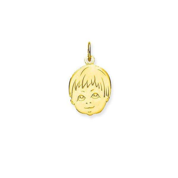 Gouden kinderkopje - jongen - 17 x 14 mm