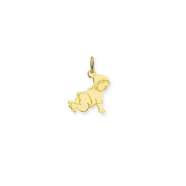 Gouden graveerplaatje - kruipende baby