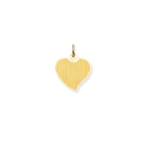 Gouden graveerplaatje - hart - 14.5 x 14.5 mm