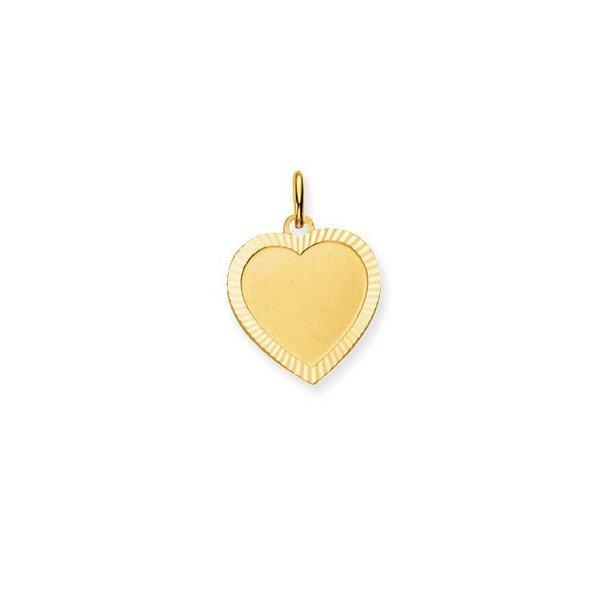Gouden graveerplaatje - hart - 16 x 15.5 mm
