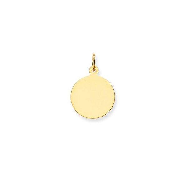 Gouden graveerplaatje - rond - glanzend - 14 mm