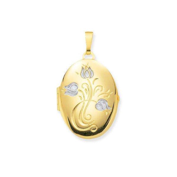 Gouden medaillon - ovaal - 28 x 20 mm