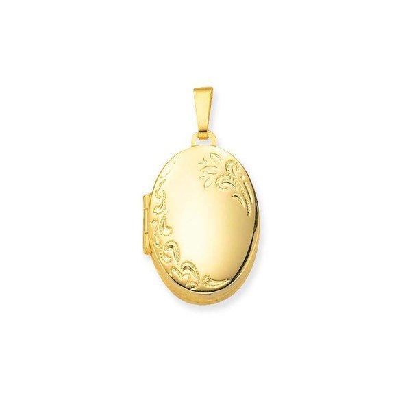 Gouden medaillon - ovaal - bloemmotief - 4 foto's