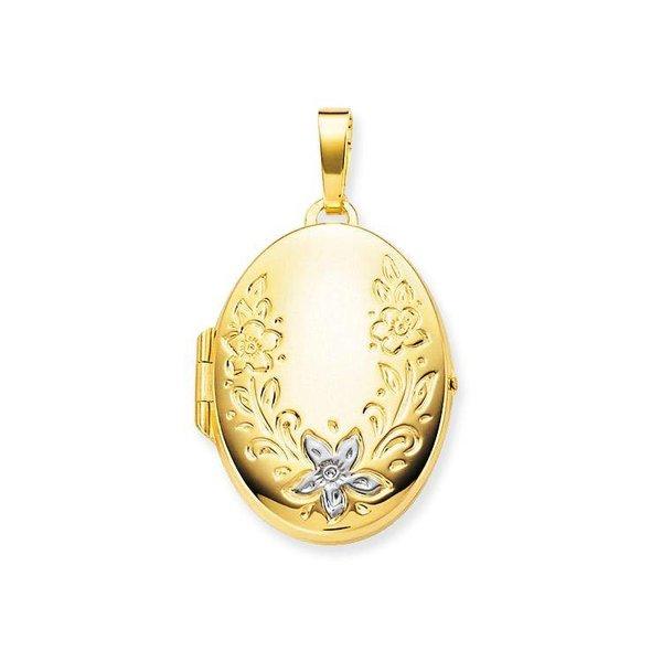 Gouden medaillon - ovaal - bewerkt - 20 x 30 mm