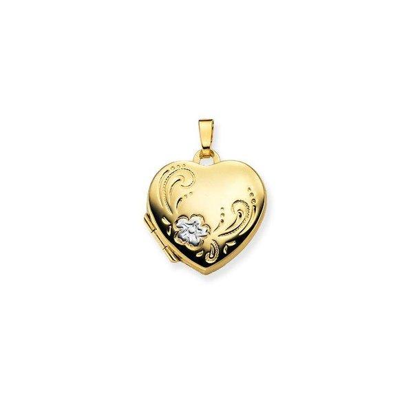 Gouden medaillon - hart - bewerkt - 18 x 19 mm